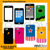 Superhero smartphone clip art