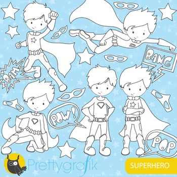 Superhero stamps commercial use, vector graphics, images - DS660
