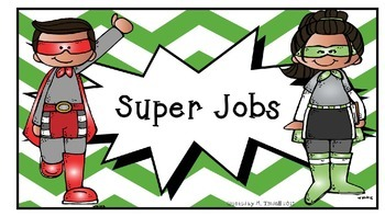 Superhero theme classroom job signs