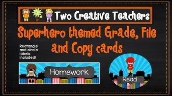 Superhero theme grade, file and copy labels