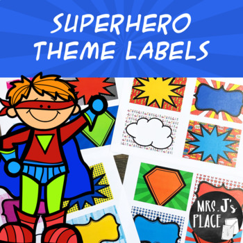 Superhero-theme labels