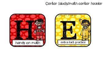 Superhero theme math center rotation signs (H.E.R.O.)