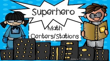 Superhero theme math center rotation signs (H.E.R.O.)