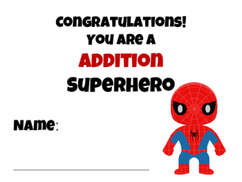 Superhero theme math fact certificate CCS math fluency reward