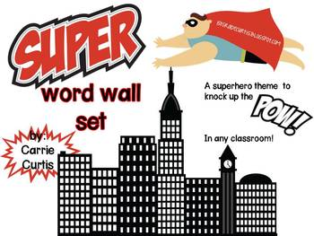 Superhero theme word wall set