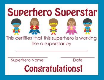 Superhero themed Achievement Certificate