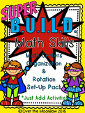 Superhero themed B.U.I.L.D. Math Centers Organization & Rotation Set-Up Pack