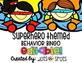 Superhero themed Behavior Bingo