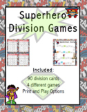 Print & Go!! superhero themed division games.