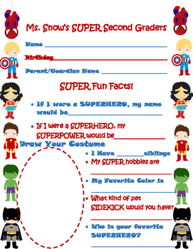 Superhero themed Getting to Know You Sheets