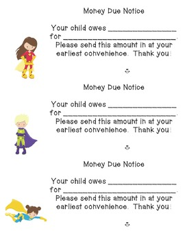 Superhero themed Money Due Notice