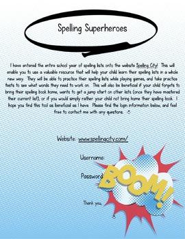 Superhero themed Spelling City parent letter