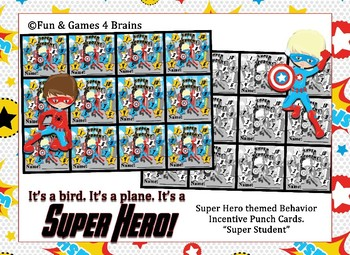 "Superhero themed ""Super Student"" Behavior, Incentive Punch Cards"