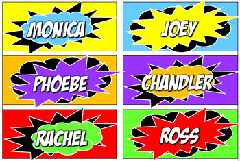 Superhero themed labels