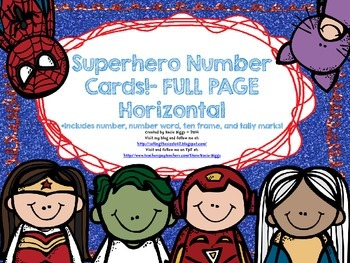Superhero themed number cards- FULL PAGE HORIZONTAL version