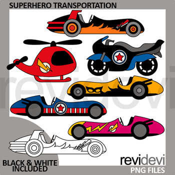 Superhero transportation clip art - race cars, motorcycle, helicopter clipart