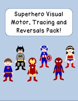 Superhero visual motor, tracing and letter reversals HUGE PACK prek k 1 2 3