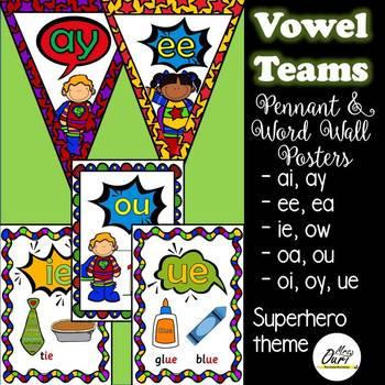 vowel teams (superhero theme)  pennants and word wall card