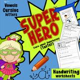 Superhero letters (vowels) using cursive handwriting, Yr 2, 3, 4, 5, 6.