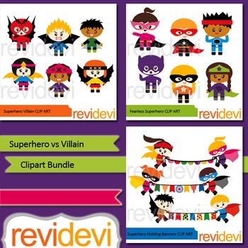 Superhero vs Villain clipart bundle (3 packs)