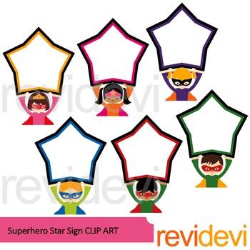 Superhero with star sign clip art