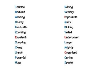 Superhero word mat