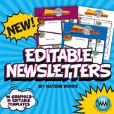 Superhero/Pop Art Classroom Newsletter Graphics, Editable Templates, Backgrounds