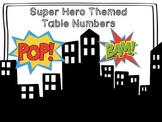SuperheroThemed Classroom Table Number Posters