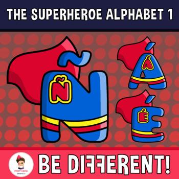 Superheroe Alphabet Clipart Letters Set 1 (ENG.-SPAN.)