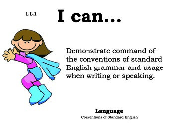 Superheroes 1st grade English Common core standards posters