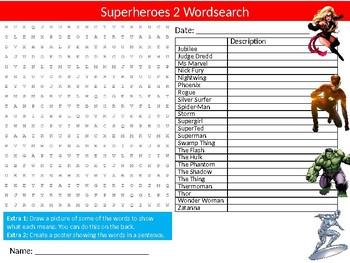 Superheroes #2 Wordsearch Sheet Starter Activity Keywords Comic Books