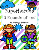 Superheroes: 3 Sounds of -ed Card Sort and Worksheet (Suffix -ed Practice)
