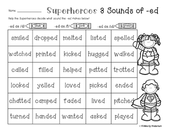 Superheroes: 3 Sounds of -ed Worksheet (Suffix -ed Practice) | TpT