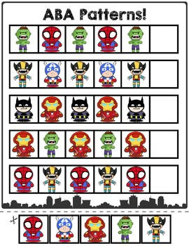 Superheroes ABA Pattern Cards | Three Pack