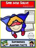 Superheroes  Addition Spin and Solve Math Centers