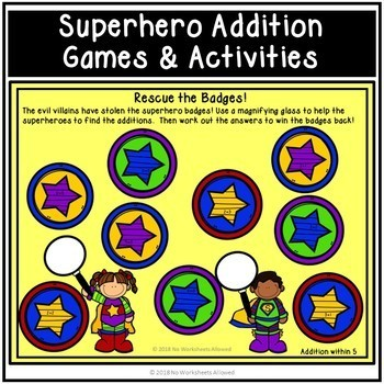 Superheroes Addition, Subtraction and Sight Words Games and Activities Bundle