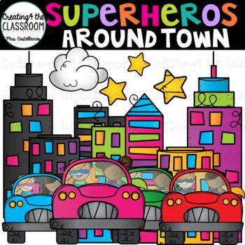 Superheroes Around Town Clip Art {Superhero Clip Art}