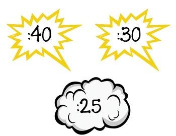Superheroes Classroom Clock Minute Labels