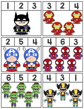 Superheroes Clip Cards | Numbers 1-6