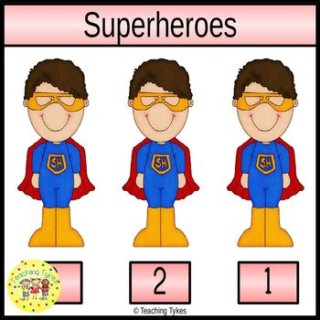 Superheroes Count and Clip Task Cards