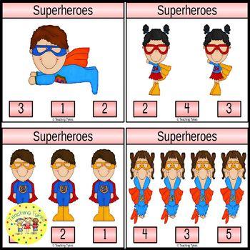 Superheroes Clip Task Cards