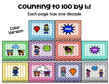 Superheroes: Counting to 100 Puzzles