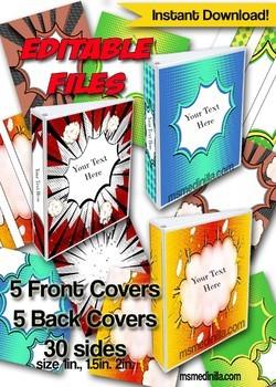 Superheroes Editable Binder Cover Set of 5 Colors for Teacher Binders, Portfolio
