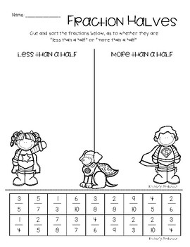 Superheroes Fraction Practice: More Than a Half / Less Than a Half