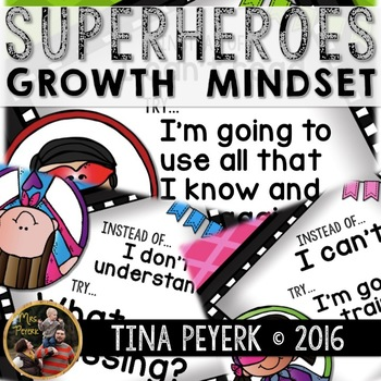 Superheroes Growth Mindset Posters for Bulletin Board