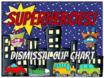 Superheroes! How We Go Home Dismissal Clip Chart