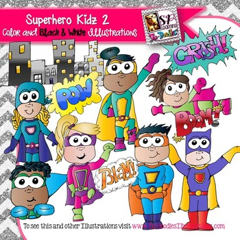 Superheroes Kids 2 clip art