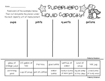 Superheroes: Liquid Capacity (Customary) - Cups / Pints / Quarts / Gallons