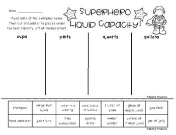 Superheroes: Liquid Capacity (Customary) - Cups / Pints / Quarts / Gallons