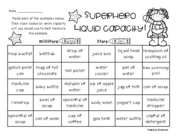 Superheroes: Liquid Capacity (Metric) - Milliliters / Liters